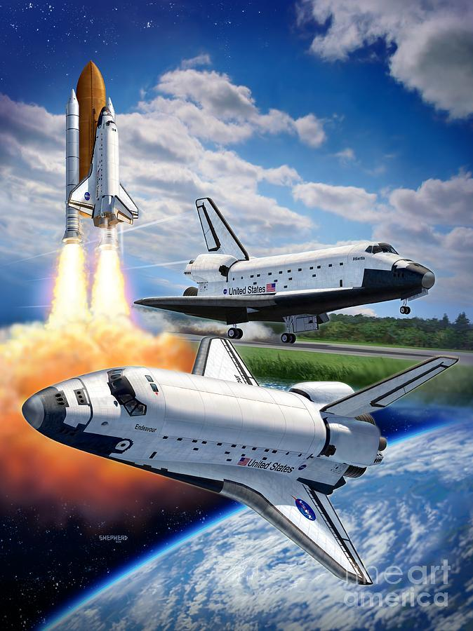 Space Shuttle Montage Digital Art  - Space Shuttle Montage Fine Art Print