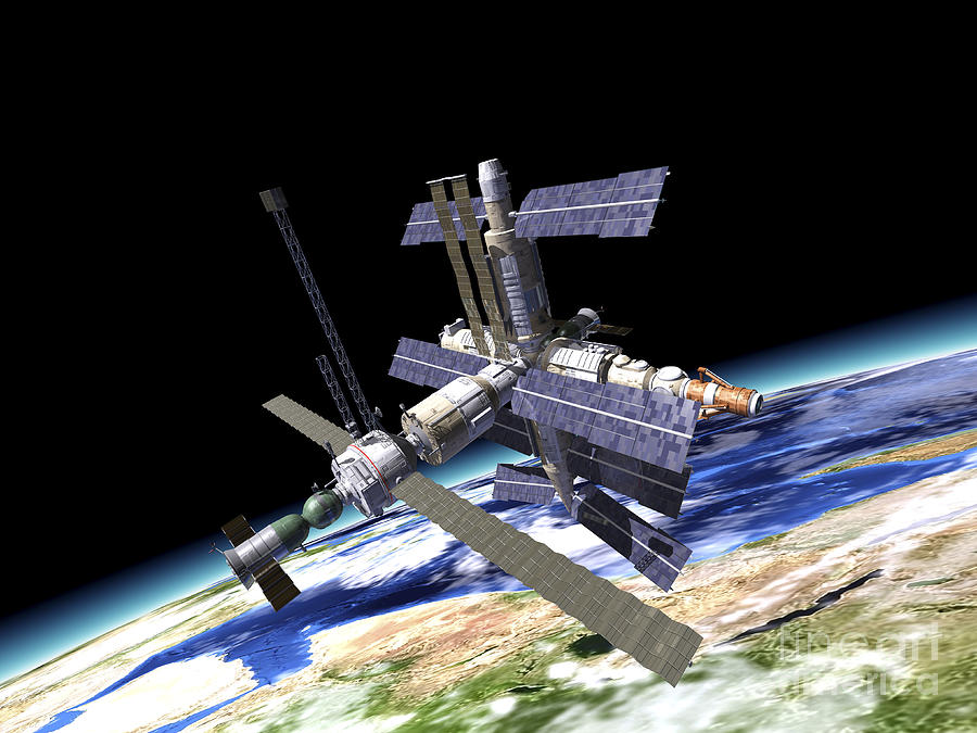 Space Station In Orbit Around Earth Digital Art by ...