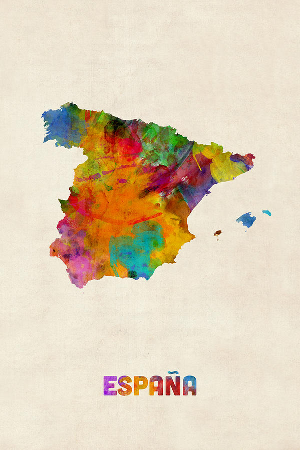 Map Art Digital Art - Spain Watercolor Map by Michael Tompsett