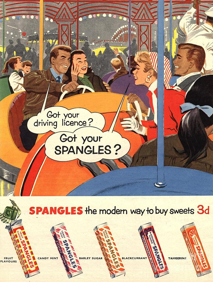Spangles 1950s Uk Sweets Drawing