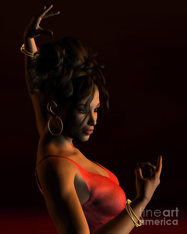 Spanish Flamenco Dancer - 2 Digital Art  - Spanish Flamenco Dancer - 2 Fine Art Print