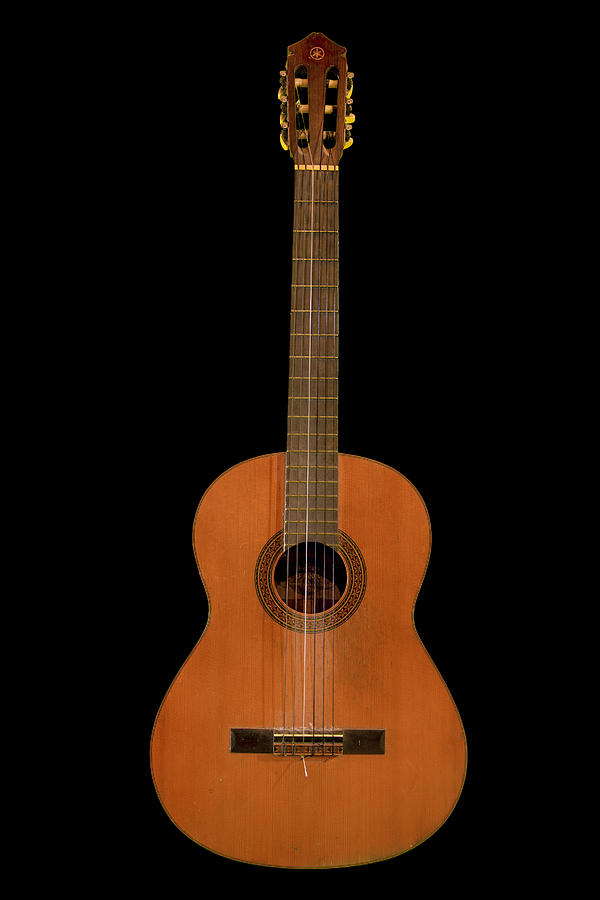 Spanish Guitar On Black Photograph