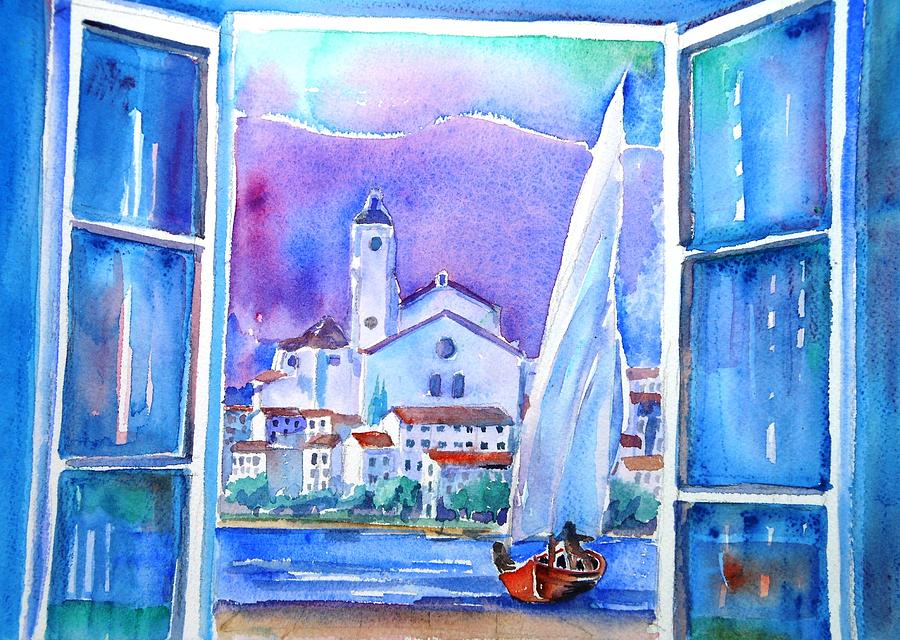 Spanish Window In Cadaques And The Church Of Santa Maria Painting  - Spanish Window In Cadaques And The Church Of Santa Maria Fine Art Print
