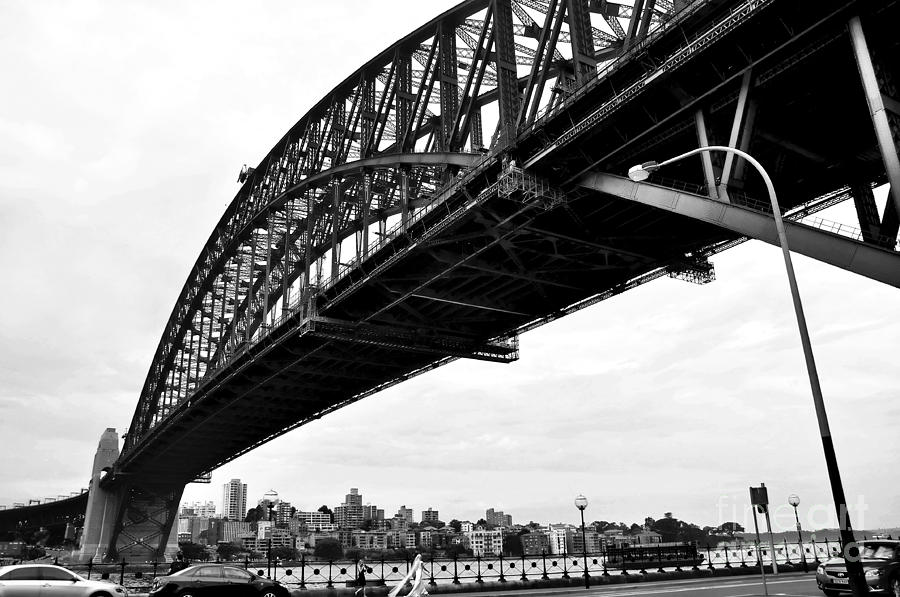 Spanning Sydney Harbour - Black And White Photograph