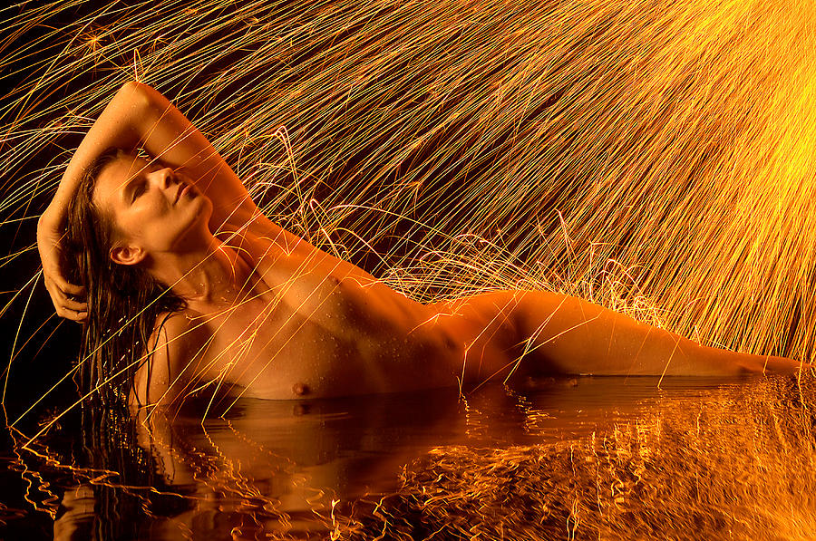 Spark Bathing Photograph  - Spark Bathing Fine Art Print