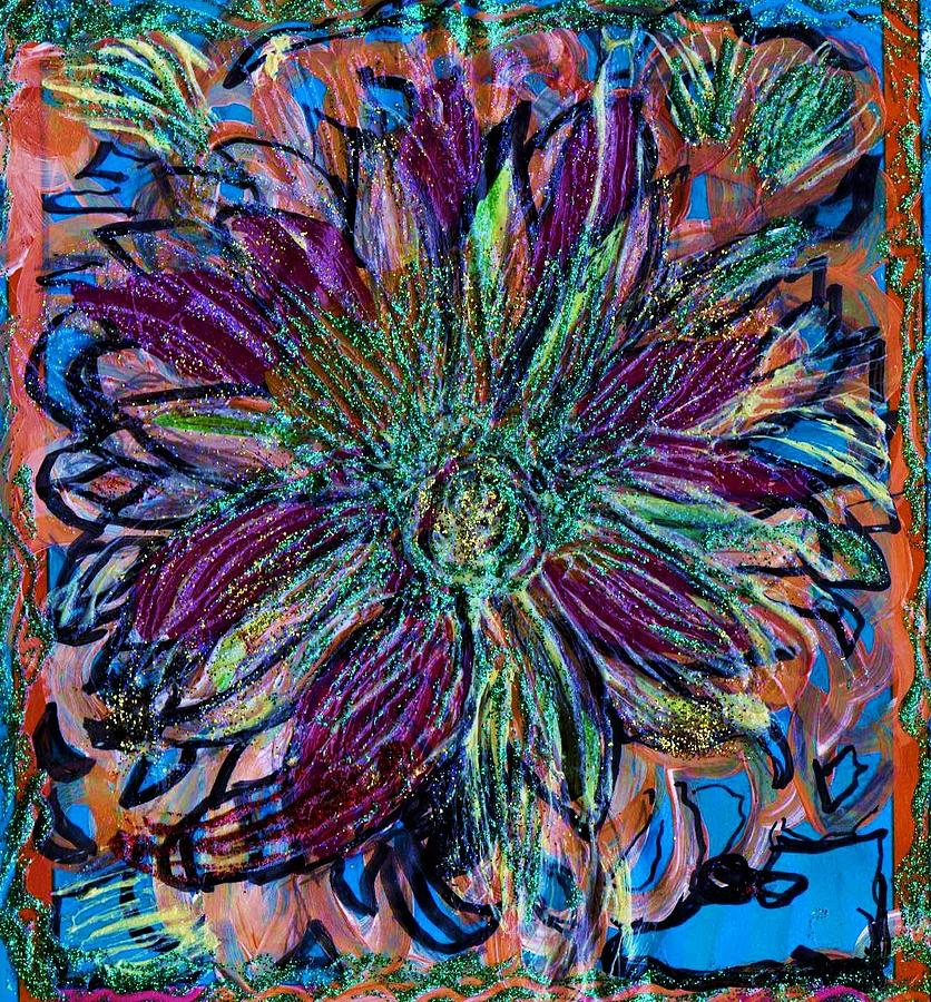 Sparklly Mixed Media - Sparkly Flower And A Blue Shoe by Anne-Elizabeth Whiteway