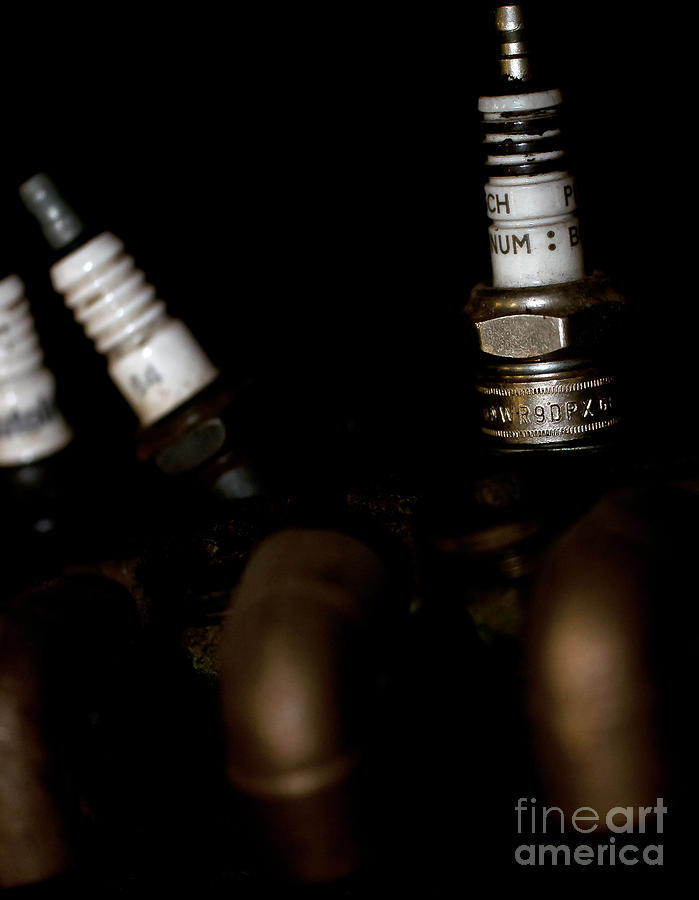 Sparkplugs On A Vintage Motorcycle Photograph