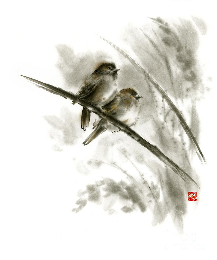 sparrows sumi e original ink painting artwork painting by