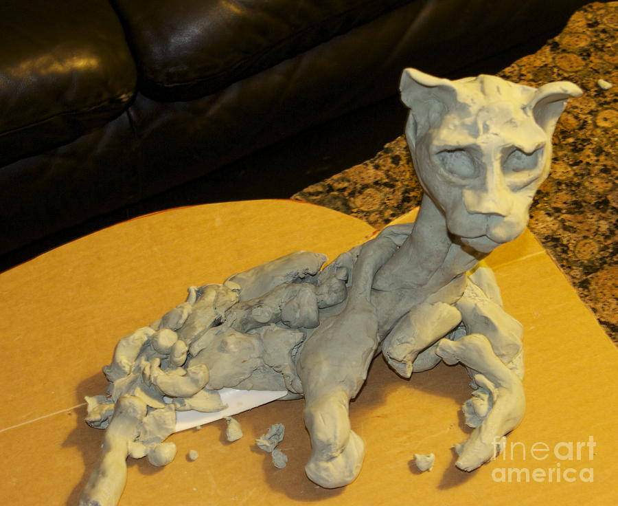 Clay  Sculpture - Spatula Cat by Christopher Swass