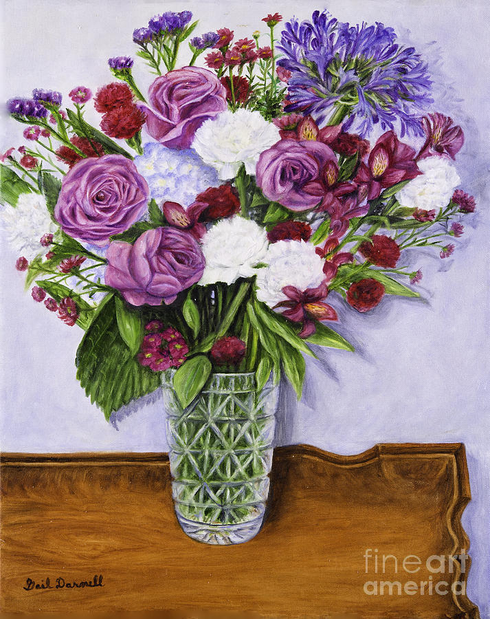 Special Bouquet In Crystal Vase On Heirloom Table Painting  - Special Bouquet In Crystal Vase On Heirloom Table Fine Art Print