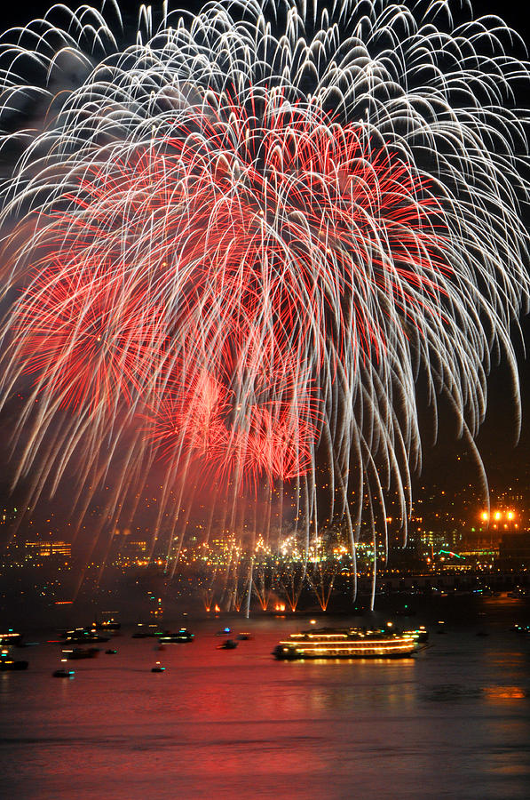 Spectator Boats Beneath A San Francisco 4th Of July Fireworks Show Photograph
