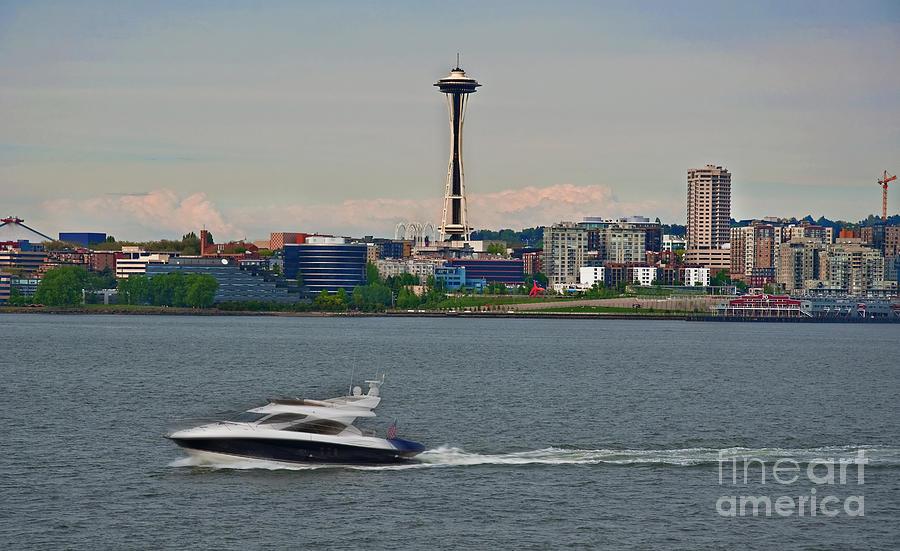Speedboat In Foreground Of Seattle Wshington Skyline Photograph