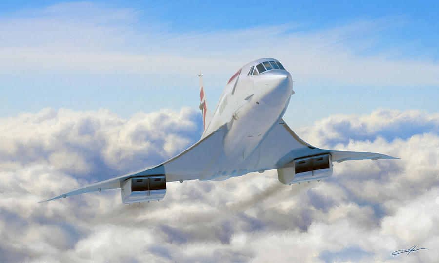 Concorde Digital Art - Speeding Above The Clouds by Dale Jackson