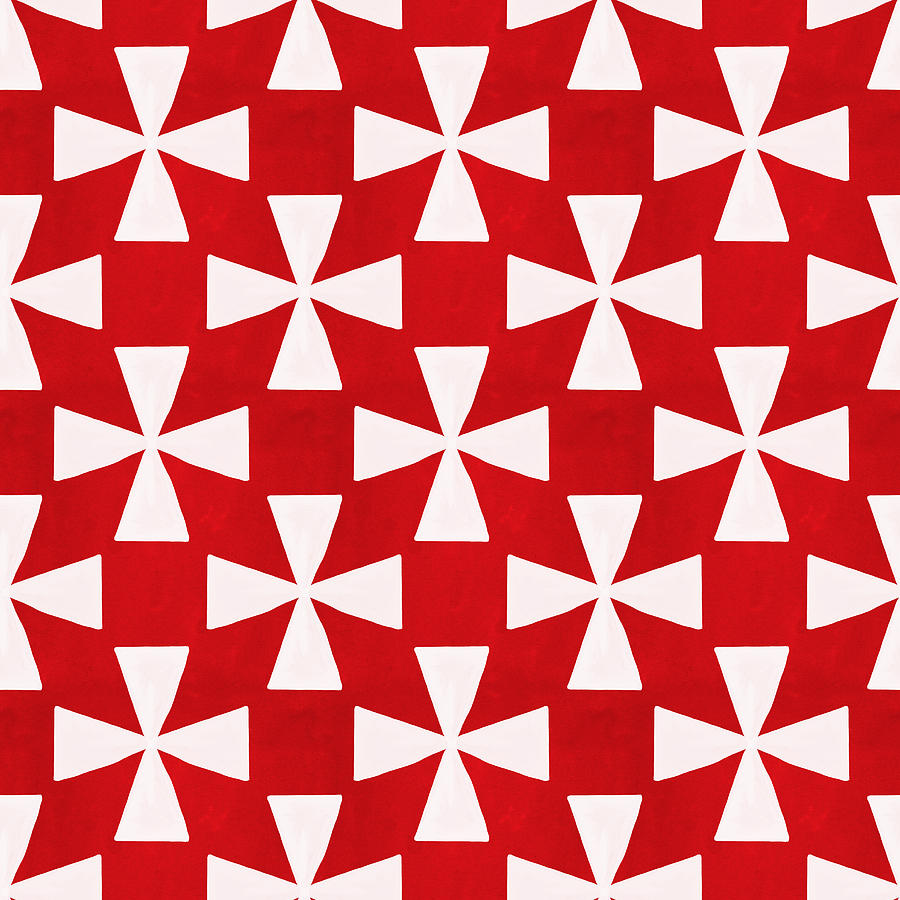 Spice Twirl- Red And White Pattern Painting