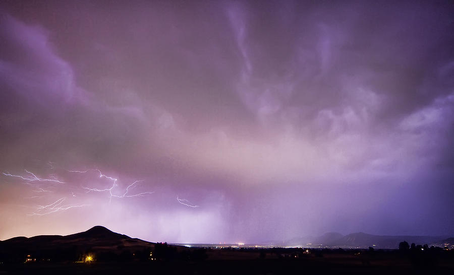 Spider Lightning Above Haystack Boulder Colorado Photograph