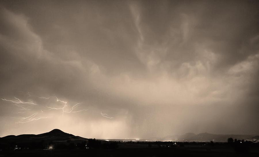 Spider Lightning Above Haystack Boulder Colorado Sepia Photograph