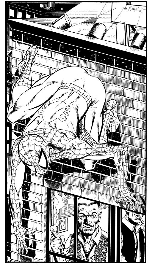 Spider-man On Building Drawing