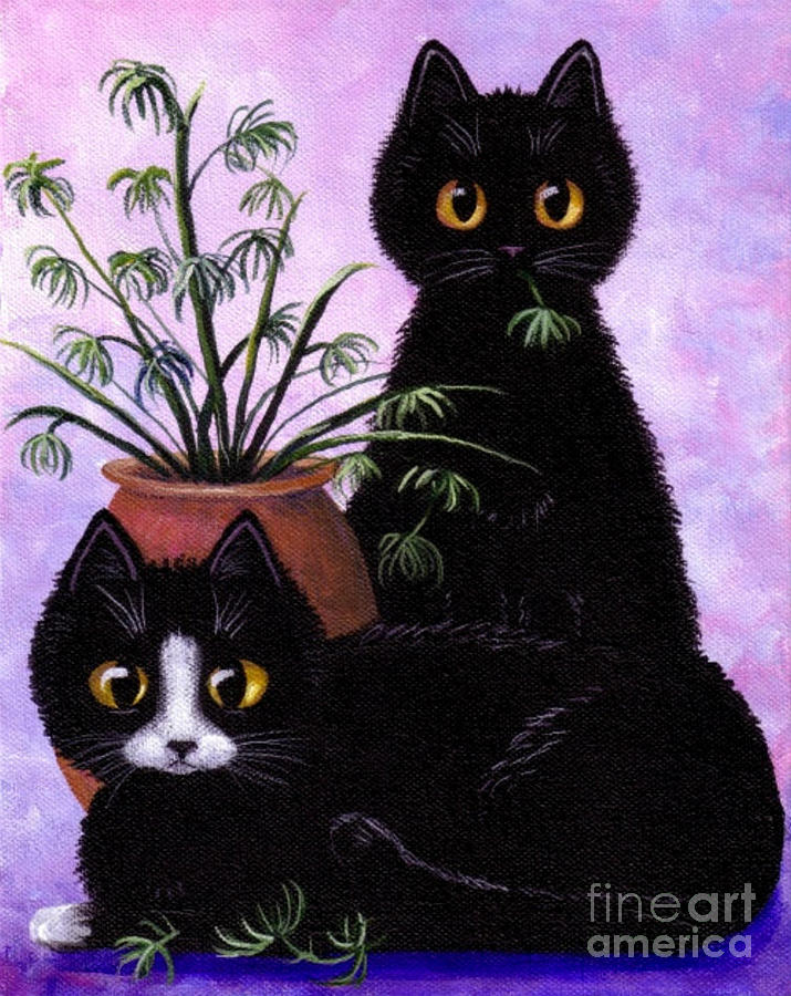 Spider plant painting by lisa adams for Are spider plants poisonous to cats