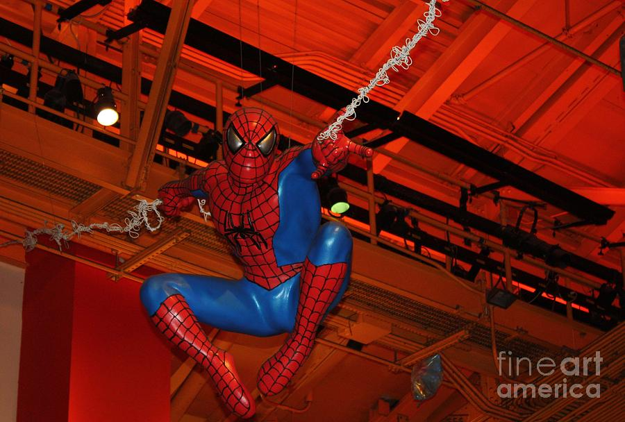 Spiderman Swinging Through The Air Photograph