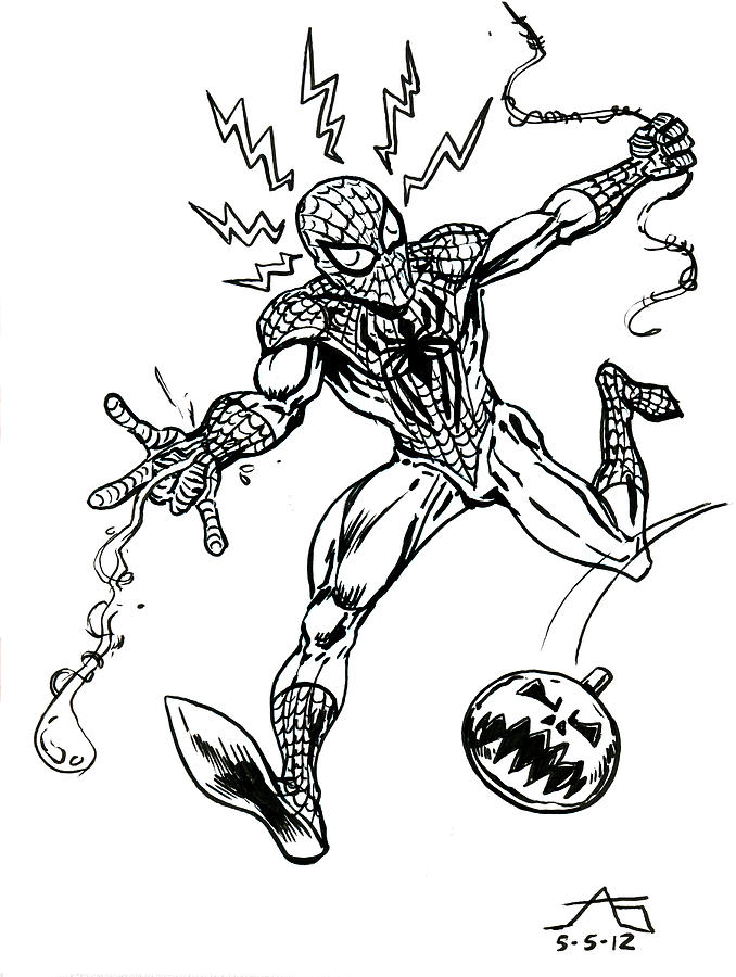 Spidey Dodges A Pumpkin Bomb Drawing