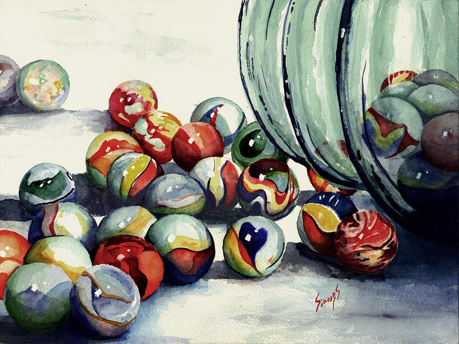 Marble Painting - Spilled Marbles by Sam Sidders