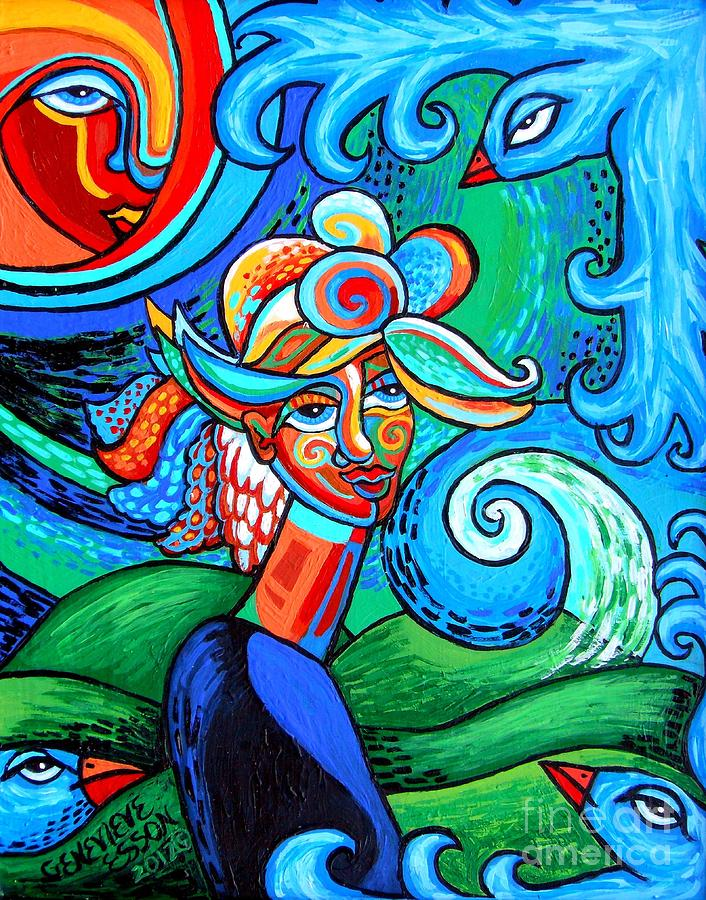 Spiral Bird Lady Painting  - Spiral Bird Lady Fine Art Print