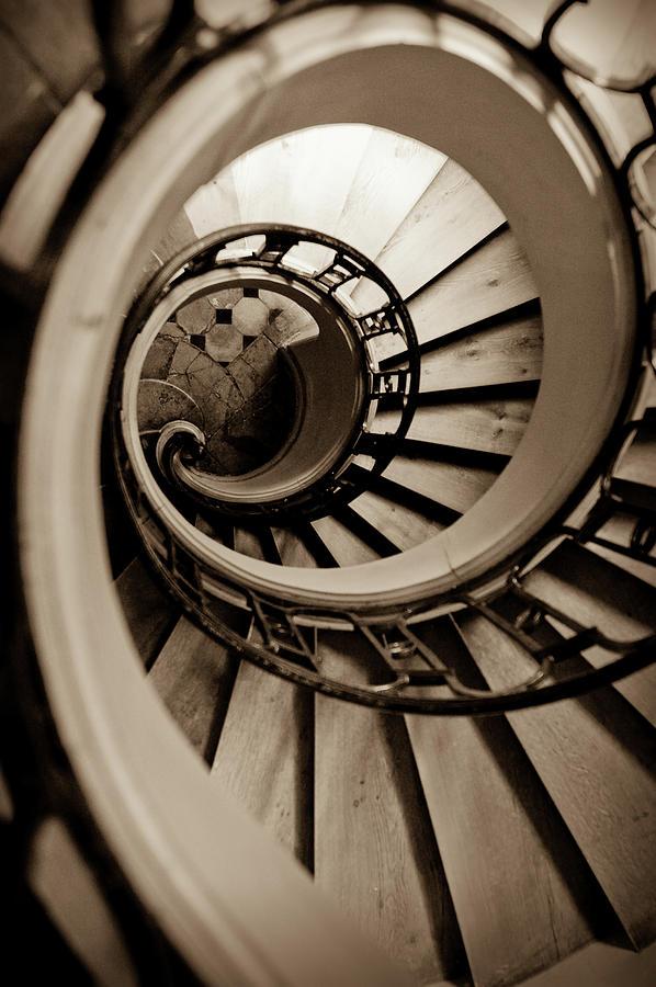 B&w Photograph - Spiral Staircase by Sebastian Musial