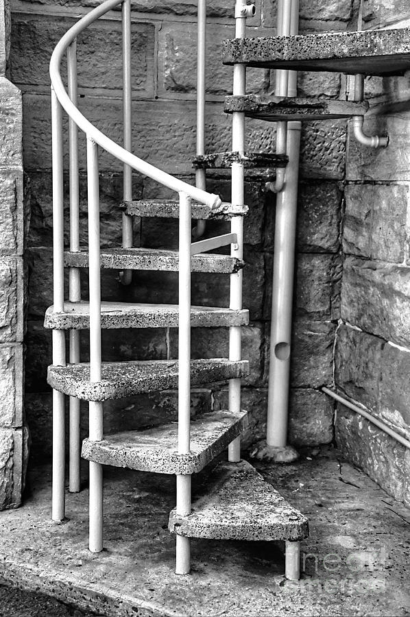 Photography Photograph - Spiral Steps - Old Sandstone Church by Kaye Menner