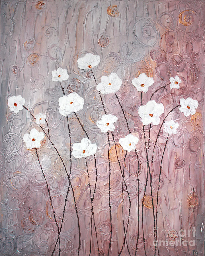 Flowers Painting - Spiral Whites by Home Art