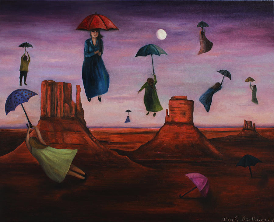 Spirits Of The Flying Umbrellas Painting  - Spirits Of The Flying Umbrellas Fine Art Print