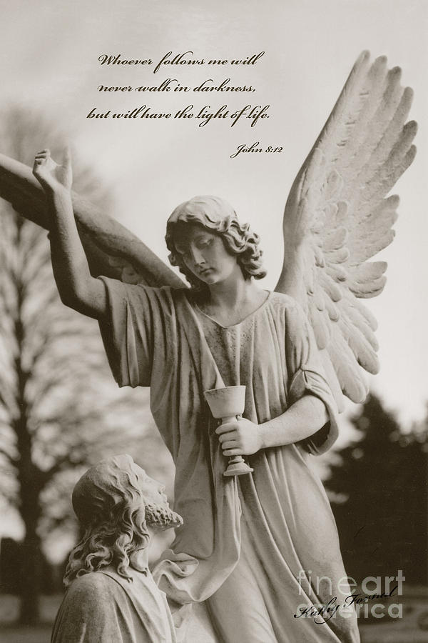 Spiritual Religious Angel Art With Jesus  Photograph