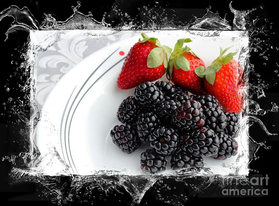 Splash - Fruit - Strawberries And Blackberries Photograph