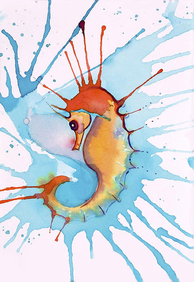 Splash Seahorse Painting  - Splash Seahorse Fine Art Print