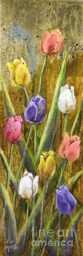 Splash Painting - Splashy Tulips II With Gold Leaf By Vic Mastis by Vic  Mastis