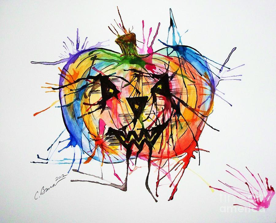 Pumpkin Painting - Splatter Pumpkin by Christy Bruna