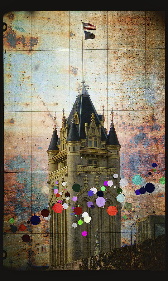 Splattered County Courthouse Digital Art  - Splattered County Courthouse Fine Art Print