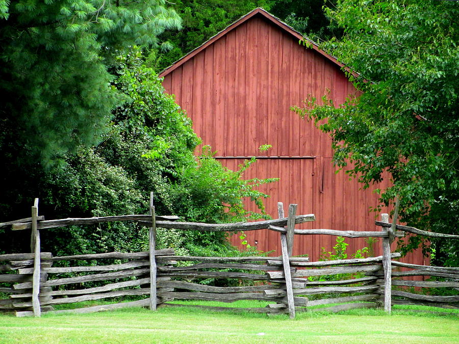 Split rail fence and barn in old salem photograph by