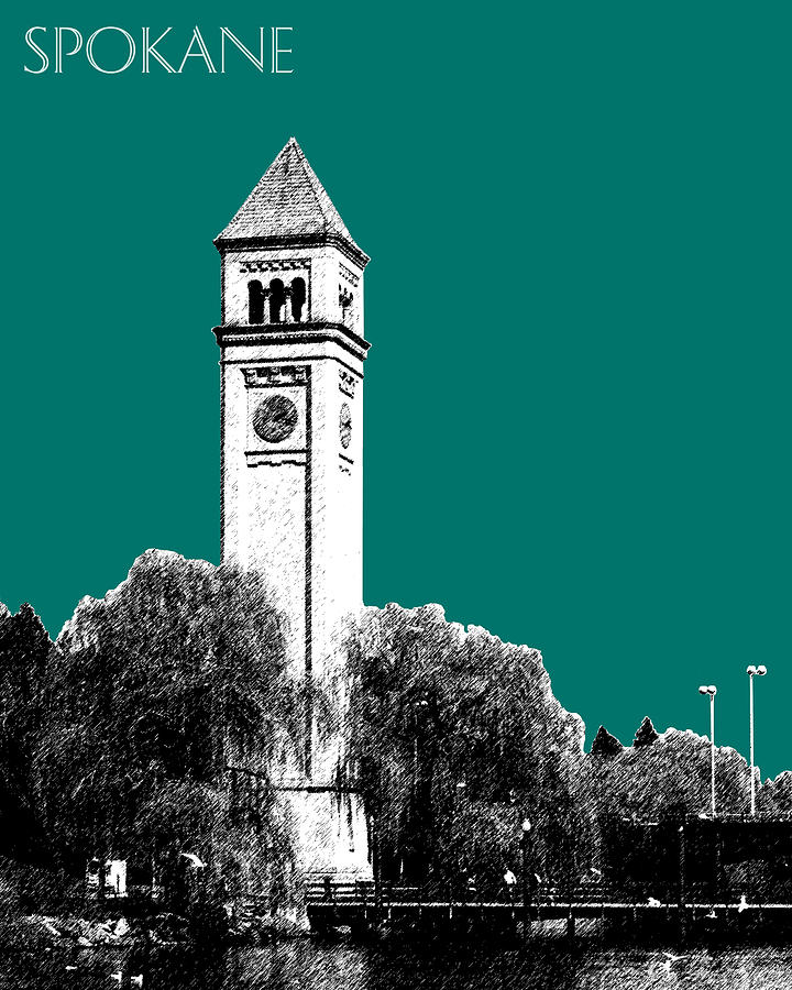 Spokane Clock Tower Digital Art  - Spokane Clock Tower Fine Art Print