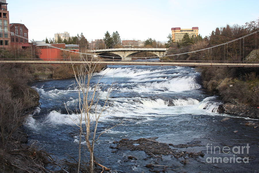 Spokane Falls In Winter Photograph