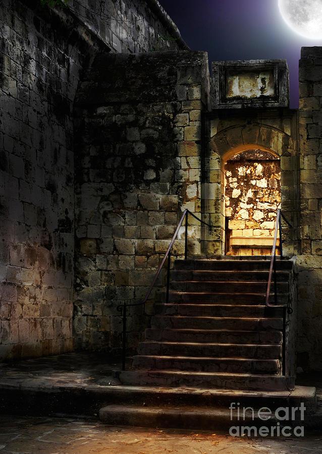 Spooky Backlit Door Way In Moon Light Photograph