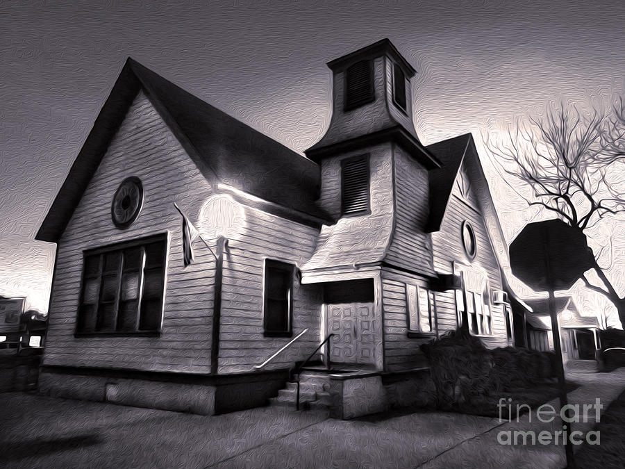 Spooky Chino Church - 01 Painting  - Spooky Chino Church - 01 Fine Art Print