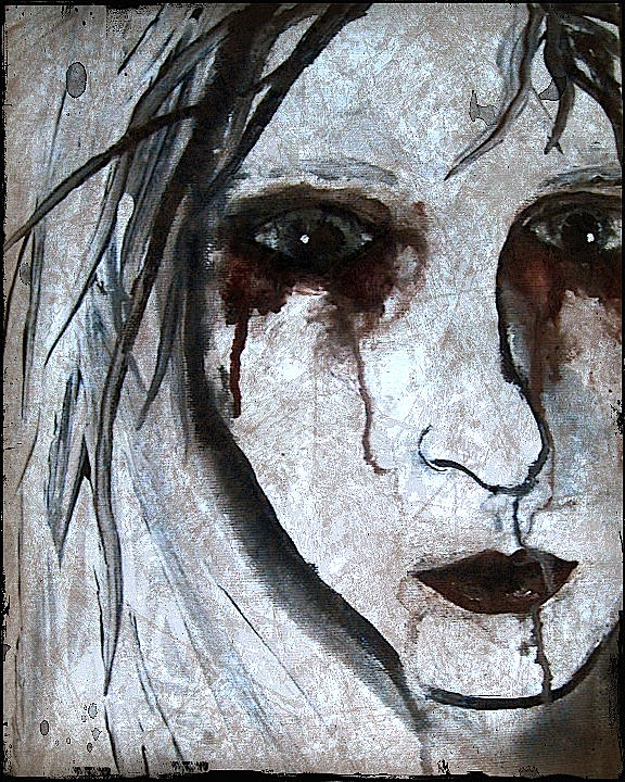 Spooky Gothic Zombie Portrait Painting Fine Art Print Painting by Laura  Carter