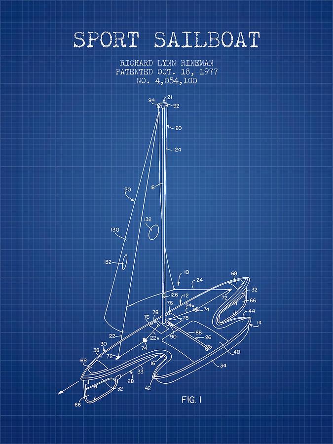 Sport Sailboat Patent From 1977 - Blueprint Digital Art