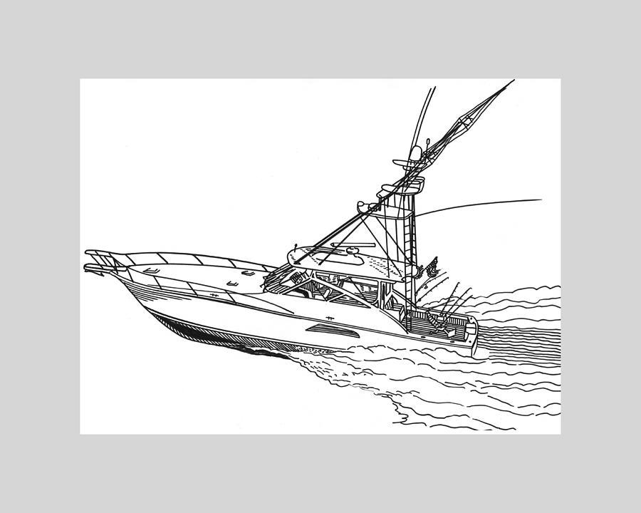 Yacht Portraits Drawing - Sportfishing Yacht by Jack Pumphrey