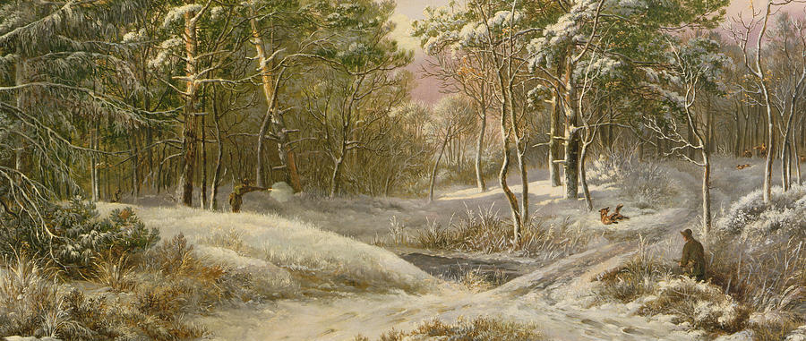 Sportsmen In A Winter Forest Painting  - Sportsmen In A Winter Forest Fine Art Print