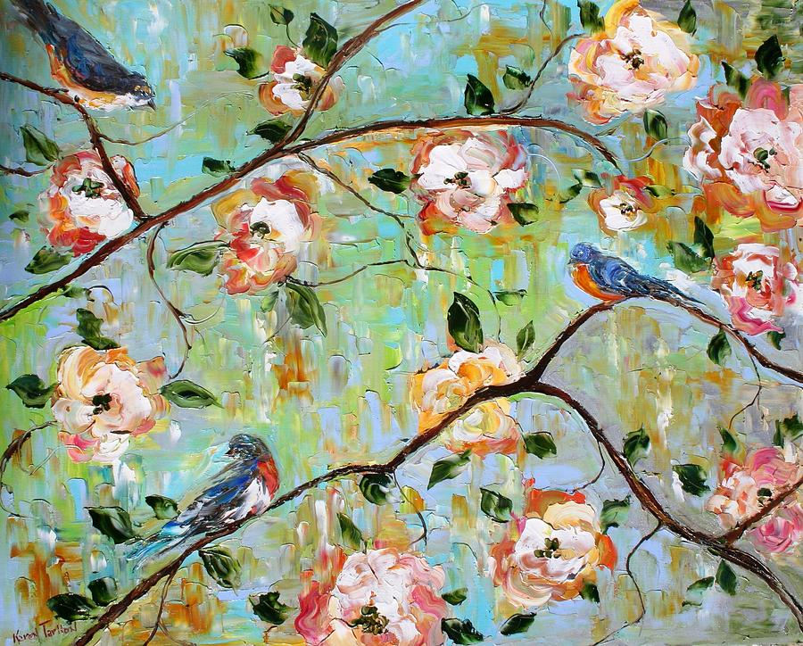 Spring Birds And Blooms Painting