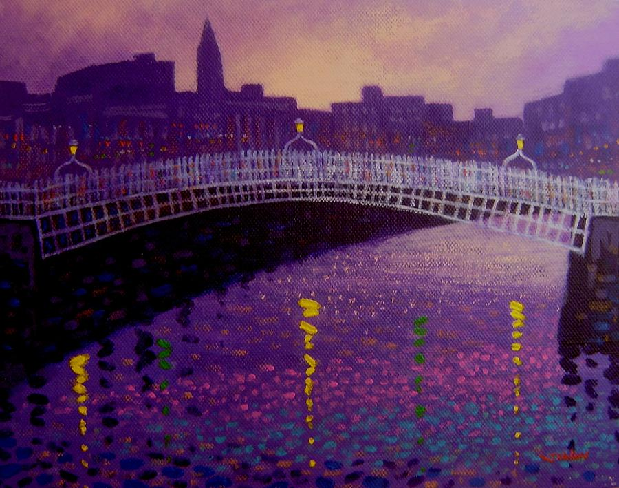 Spring Evening Ha Penny Bridge Dublin Painting  - Spring Evening Ha Penny Bridge Dublin Fine Art Print