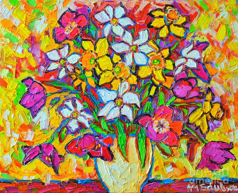 Spring Flowers Bouquet Colorful Tulips And Daffodils Painting
