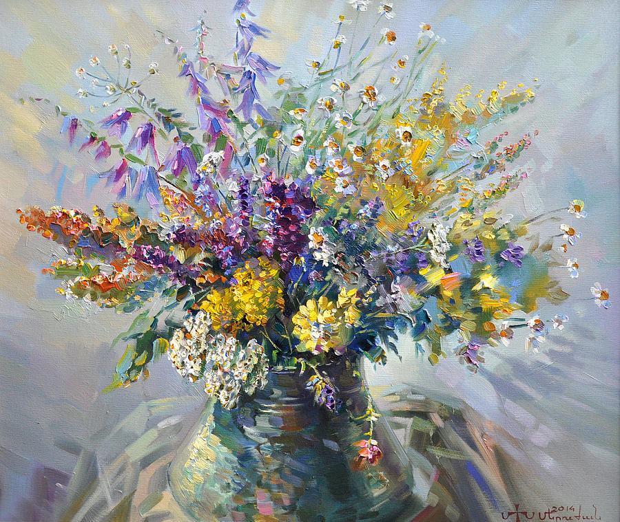 spring flowers of armenia painting by meruzhan khachatryan