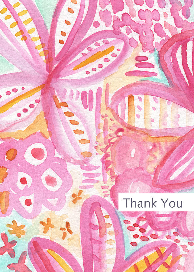 Thank You Card Painting - Spring Flowers Thank You Card by Linda Woods